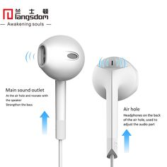 Original Langsdom Patent Design Half In-ear Stereo Bass Earphones Volume Control with Mic Remote for iPhone Samsung - B E S T Online Marketplace - SaleVenue Consumer Electronics, Remote, Headphones, Samsung, Online Marketplace, Iphone, The Originals, Apple, Technology