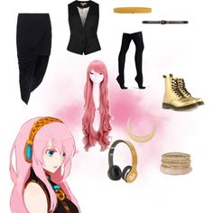 Vocaloid Luka- Casual Cosplay by inthedark2018 on Polyvore featuring Ted Baker, Helmut by Helmut Lang, Commando, Dr. Martens, First People First, Jil Sander, Dorothy Perkins, My Little Pony and Seconda Base