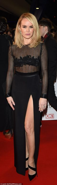 Sheer glamour: Amanda flashed her middle in sheer...