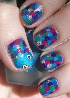 "Um omg...nail art from the book, ""The Rainbow Fish"" <3"