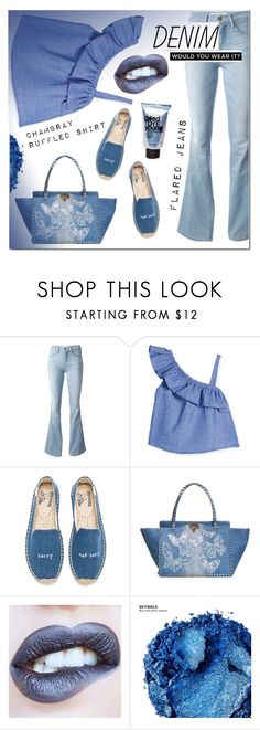 """""""denim"""" by katymill ❤ liked on Polyvore featuring Frame, Milly, Soludos, Valentino, Urban Decay and alldenim"""