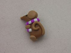Ratty Rat Fimo brooch. Etsy listing at https://www.etsy.com/listing/200016223/cute-little-rat-brooch-made-from-polymer