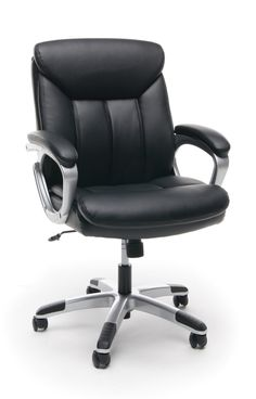 Essentials by OFM ESS-6020 Executive Leather Swivel Office Chair, Black with Silver Frame - Walmart.com