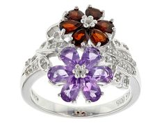 Zales Oval Amethyst and Pear-Shaped Multi-Gemstone Flower Cluster Ring in Sterling Silver kzVky83vl