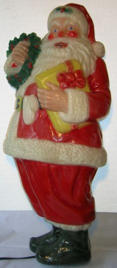 Vintage 1950's Noma Christmas Santa Claus Blow Mold Light Reverse Paint |