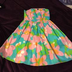 Lilly Pulitzer Shorely Blue Mojo I've only worn this dress twice and I loved it. I just don't have use for it anymore. Please check ♏️ for better price. Lilly Pulitzer Dresses Strapless