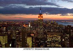 """""""USA, New York City, Manhattan skyline at dusk"""" - New York City stock photos available on Fotosearch.com"""