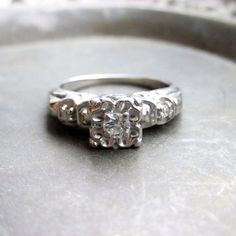 Antique Engagement Ring  14K White Gold Engagement by tesorilove