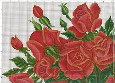 Roses in vase 5 of 7 top left Cross Stitch Numbers, Cute Cross Stitch, Cross Stitch Rose, Cross Stitch Flowers, Cross Stitch Charts, Cross Stitch Designs, Cross Stitch Patterns, Cross Stitching, Cross Stitch Embroidery