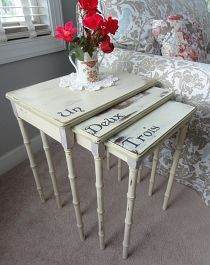 Janet M's discussion on Hometalk. Now you can see the pretty bamboo styled legs! - Lovely Annie Sloan colors Versilles, Emile and Old White..Graphite for hand p
