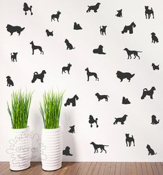 Elegant Dog Wall Decal / Doggie Decal / 36 Dogs Pattern Wall Decal / Kids Room Decal