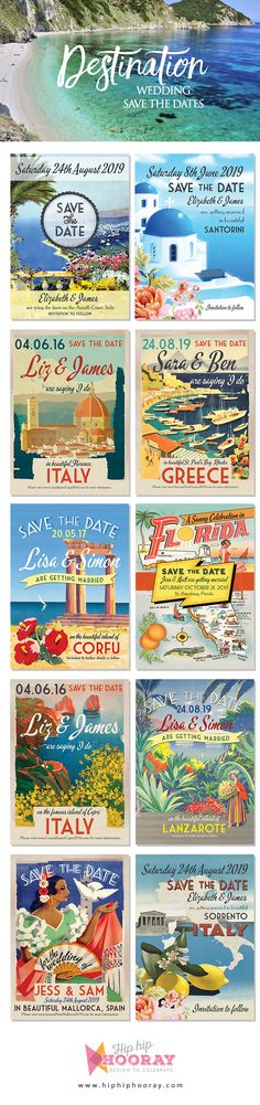 An amazing selection of destination wedding save the date cards - with designs suitable for various locations including: Italy, Puglia, Florence, Tuscany, Ravello, Amalfi Coast, Lake Como, Siena, Capri, Positano, Sorrento, Sicily, Sardinia, France, Nice, French Riviera, Greece, Greek Islands, Rhodes, Zante, Corfu, Santorini, Crete, Skiathos, Malta, Cyprus, Florida, Spain, Lanzarote, Tenerife, Mediterranean Islands & more. Vintage / retro postcard styles - personalise with your own text…