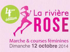"""Le 11 octobre 2015, venez participer à la 5éme édition de La Rivière Rose ! Marche, courses et exclusivement féminines au profit de la prévention et du dépistage du cancer du sein.  Inscription en ligne sur : {{ url(""""inscription"""") }}"""