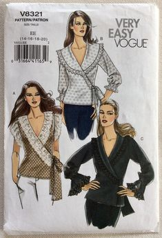 3a660052a3f Vogue Pattern 8321 Wrap   Tie Front Blouse w Shawl Collar - Opt. Lace Trim  Sleeves and Collar Size 14 16 18 20