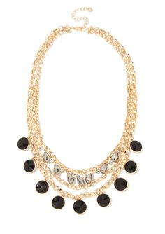 LYDELL NYC Multi-Row Crystal Necklace