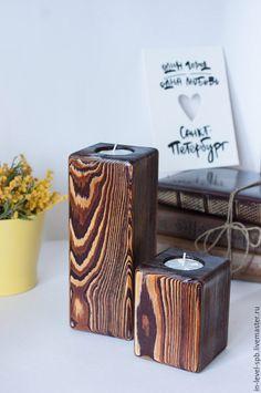 Купить Подсвечник из массива лиственницы - коричневый, подсвечники, из массива дерева, из массива, деревянный подсвечник