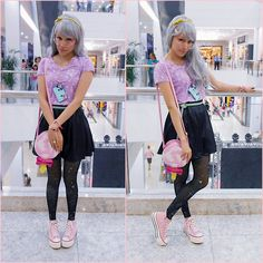 Magical Jillian - Marisa Black Fake Vinil Skirt, Handmade By Me Pastel Cassette Tape Collar - Princess goes to the mall