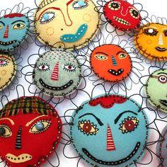 Raw Bone Studio Mixed Media Flower Face Folk Art, Buttercup. I would paint rocks like this for garden