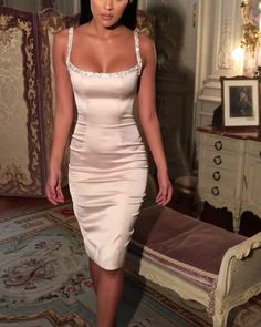 Material: Satin - Polyester Embellished champagne dress Straps and neckline adorned with hand-sewn crystals Sexy bodice cut Midi length Fully lined Satin Dresses, Elegant Dresses, Pretty Dresses, Sexy Dresses, Evening Dresses, Fashion Dresses, Going Out Dresses, Party Dresses For Women, Classy Dress