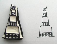 wedding cake rubber stamp (to carve out of an eraser)