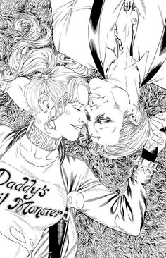 Just the inks of The Fault in Our Scars - amazing artwork by Mark S. Miller (underdogmike on instagram) inspired by Jared Leto as The Joker and Margot Robbie as Harley Quinn in Suicide Squad