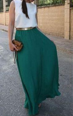 Green-White Patchwork Belt Sleeveless Casual Maxi Dress