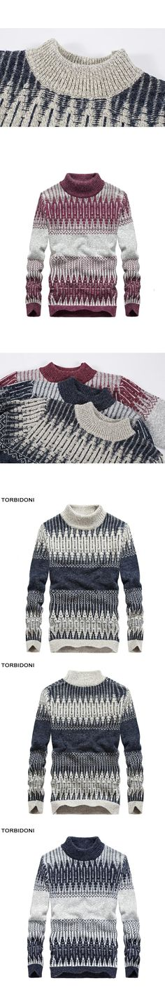 Mens Sweaters And Pullovers High Collar New Autumn Warm Fashion Design Brand Casual Sweaters O-Neck Patchwork Knitting M-3XL