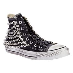 Converse Limited chain detail hi-top ❤ liked on Polyvore featuring shoes, sneakers, metallic shoes, round cap, converse footwear, converse shoes and converse sneakers