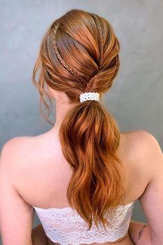 Low Ponytail & Braids ❤ #lovehairstyles #hair #hairstyles #haircuts Date Hairstyles, Graduation Hairstyles, Holiday Hairstyles, Homecoming Hairstyles, Formal Hairstyles, Wedding Hairstyles, Low Ponytail Hairstyles, Braided Ponytail, Every Girl