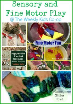 Lots of sensory and fine motor play ideas shared at The Weekly Kids Co-op.