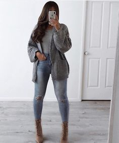 Sometimes you just got be warm and comfy 🙌🏽 whole outfit from my store (San Fran Jeans, Bee Cardigan and Casual Vibes Top)… Winter Fashion Outfits, Fall Winter Outfits, Autumn Winter Fashion, Distressed Black Jeans, Black Ripped Jeans, Ripped Shorts, Cute Casual Outfits, Stylish Outfits, Casual Jeans