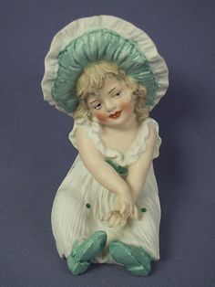 Antique Heubach German Bisque Piano Baby Girl Bonnet Figurine Darling | eBay