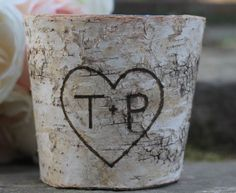 Rustic Birch Vase Flower Arrangements | Birch Bark Rustic Personalized Flower Pot Vase by MichelesCottage, $19 ...