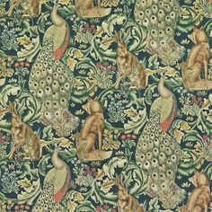Forest Velvet by William Morris. A tapestry inspired fabric depicting a forest scene with peacocks, hares and foxes set amongst scrolling acanthus leaves. Digitally printed on azure with gold and natural shades of green, on velvet Art Nouveau, John Everett Millais, Made To Measure Curtains, Arts And Crafts Movement, Forest Animals, Designer Wallpaper, Wallpaper Designs, Paisley Wallpaper, Antique Wallpaper