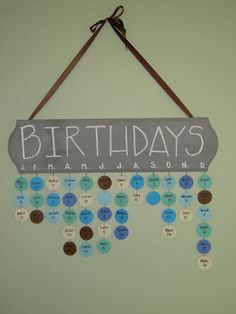 Perpetual family birthday calendar- or class birthdays. possible teacher gift? Family Birthday Calendar, Birthday Board, Diy Birthday, Birthday Month, Birthday Display, Birthday Wall, Cute Crafts, Diy And Crafts, Diy Projects To Try