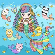 Mermaid cute with friends Premium Vector Kawaii Chibi, Cute Chibi, Cute Wallpaper Backgrounds, Cute Wallpapers, Unicorns And Mermaids, Africa Art, Art Drawings For Kids, Bird Artwork, Cute Friends