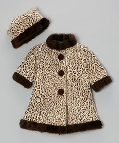 Take a look at this Brown Cheetah Coat & Beret - Infant & Toddler by Caught Ya Lookin' on #zulily today!