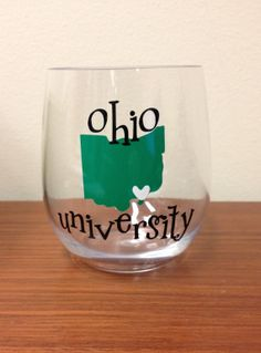 Athens Ohio Wine Glass  Ohio University Bobcats by ShippsBoutique, $9.00