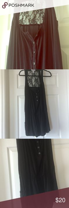 Lace-Paneled Romper Button-down lets you control cleavage. Sleeveless with open back with black lace panel. Has pockets. Worn once--perfect condition. So so cute Speechless Dresses Mini