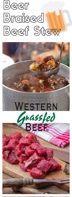 This beef stew is the perfect dish for staying in on a cold night or attending a family gathering! Made with grass fed beef stew meat and bone broth. Beef Stew Meat, Yukon Gold Potatoes, Braised Beef, White Onion, Grass Fed Beef, How To Can Tomatoes, Worcestershire Sauce, Tomato Paste, Brown Sugar