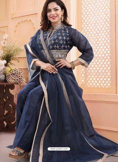 Dark Blue Georgette Readymade Heavy Designer Suit