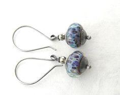 Blue Lampwork Dangle Earrings Silver Earrings by theBeadAerie
