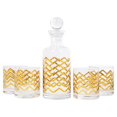 Gold chevrons add a glam touch to this classic cocktail set, a sleek addition to your home bar or serving cart.  Product: 1 Lidd...