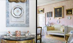 Bröstpanelen harmonierar fint med de marmorerade fälten från byggåret.  Den rosa medaljongtapeten ger matsalen en lätt romantisk prägel. Soffan är ett gustavianskt provins-arbete, pottskåpet är i gustaviansk stil.