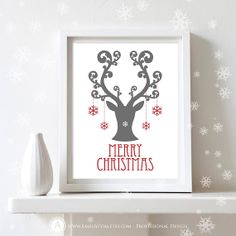 "Printable Christmas Decor Poster Print  - Merry Christmas Art Print  -  Wall Art  Christmas Decoration - 8,5"" x 11"" Digital INSTANT DOWNLOAD"
