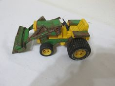 Metal Tonka Tractor with Scoop Green and Yellow John Deere Colors 1970s by LuRuUniques on Etsy