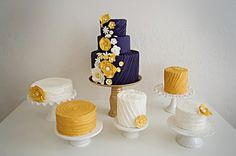 navy and yellow cakes
