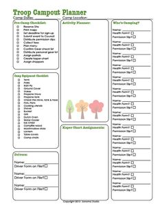 Campout Planner  Scout Troop Guide and Planner