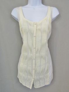 297d2a09ca950 Lane Bryant Top Plus Size Cotton Silk Scoop Neck Sleeveless Button Blouse