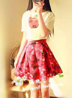 Korea Å kjøpe inn ny sommer Frukt Mønster DELEN AV Små passe vintage retro Puff Ermet kjole Div. Tynn - Taobao